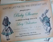 Vintage Baby Shower Invitations Hand Colored Set of Ten