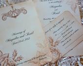 Floral Wedding Invitation with RSVP, Vintage Wedding Invitation - Set of 10