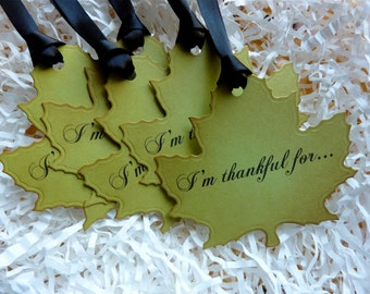 I'm Thankful For.... Holiday Luxury Maple Leaf Gift Tags Labels Set of Five