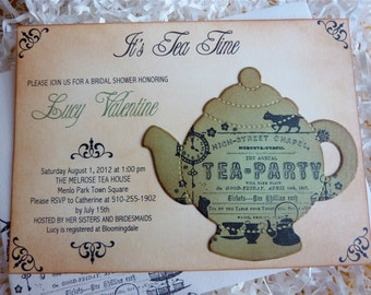 Bridal Shower Tea Party Invitation, Tea Party Invite, Vintage Inspired Invitation, Garden Party