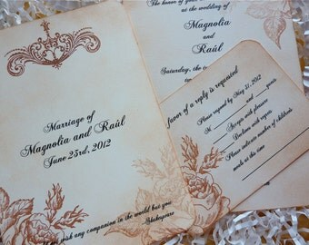 Floral Wedding Invitation with RSVP, Vintage Wedding Invitation - Set of 10