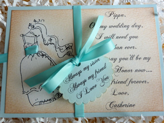 Sister/Sister-In-Law Will You Be My Maid of Honor/Bridesmaid Vintage Style Glittered NEW - Tiffany Color