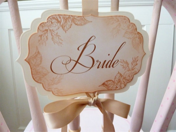 Wedding Chair Signs, Vintage Floral Design for Bride and Groom - Set of 2