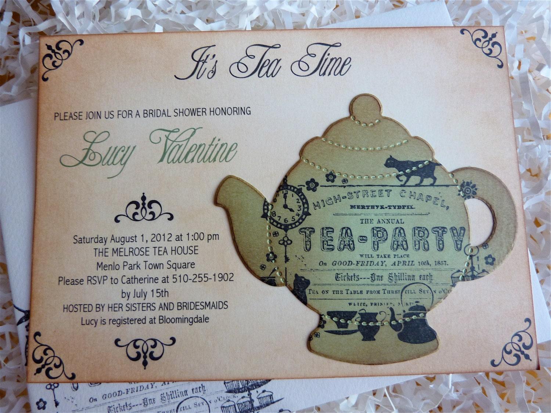 Vintage Tea Party Wedding Invitations: Bridal Tea Party Invitation High Tea Shower Invite English