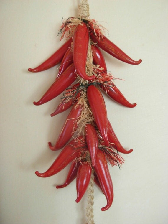 SALE - Gourd Art - Smokin' Hot Chili Pepper Gourd Ristra - Extra Large - LAST ONE!