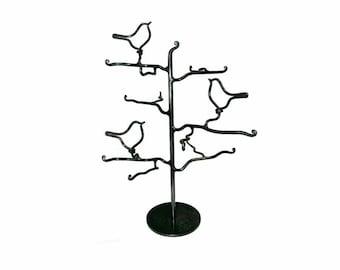Three Birds  Jewelry Tree Clear and Black