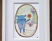 Basketball - 5x7 Watercolor and Gouache Print
