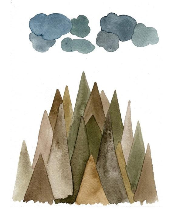 Sierra Mountains - 8x10 Watercolor Print