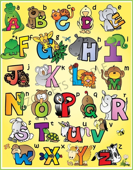 ZOOLETS Alphabet Chart 3 Color Options 18x24 by Zoolets on Etsy