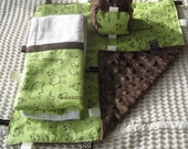 Lime Green and Chocolate Brown Animal Gift Set Busy Blanket Burp Cloth and Small Block