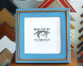 6x6 Square Picture Frame with Vintage Blue Finish in Roman Gold Wedge Style