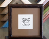 8x8 Picture Frame with Vintage Dark Wood Tone Finish in Double Cove Style
