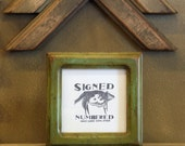 4x4 Square Picture Frame with Layered Robin's Egg under Vintage Asparagus Finish in Double Cove Style