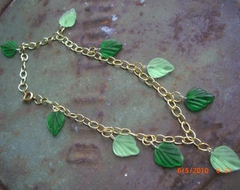 Anklet Gold Chain with Green Glass Leaf Beads