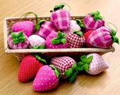 Lovely strawberry red pink, Pin Cushions, key chain. wool and lavender,   - Set of 3