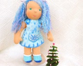 waldorf doll Christmas Clothes handmade felted dress in turquoise and blue with embroidered white snowflakes, plastic buttons