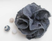 winter rose - Hand Dyed Felted brooch or barette  flower silver gray black carbon from Merino Wool perfect gift