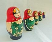 Matreshka matryoshka babushka Russian Wooden ecofrendly Doll -  green red blue applique of golden straw 5 pcs 8 cm, home decor toys