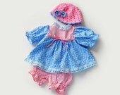 dress for waldorf doll  floral dress blue baby and pink, briefs, and cap  for 15 in 16 ( 36- 40 cm) Dress clothes bamboletta lafiabarussa