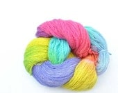 Rainbow spring super soft angora wool Hand dyed Yarn colored flower tulip - for children self stripe sock, cup, baby sweater.
