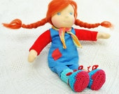 custom Waldorf doll Pippi longstocking in red / blue cloth, hair from carded wool-  1st Installment