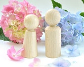 Wooden Doll Pair - man and woman - wedding cake topper - natural Wooden Toys - woodland, Wedding, party favors