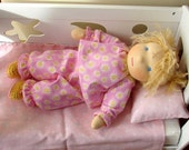 waldorf Baby doll Marta with Diaper, Top and pants from pink flanell with deysy socks 13'' bambola bebe blond hair, children spring