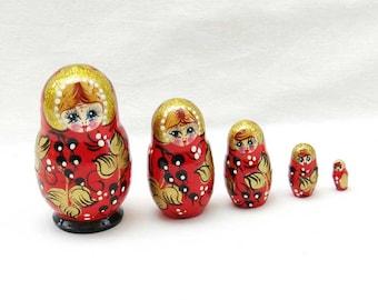 Matreshka matryoshka babushka Russian Wooden ecofrendly Dolls - red and black berries gold Painted 5 pcs 8 cm, home decor toys