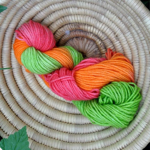 on sale. stripe Hand dyed sock mohair  wool  Handpainted   orange pink green  Yarn 50 gramms