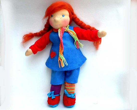 Waldorf doll Pippi longstocking in red ens blue cloth with hair from carded wool custom list by Lafiabarussa - 1st Installment