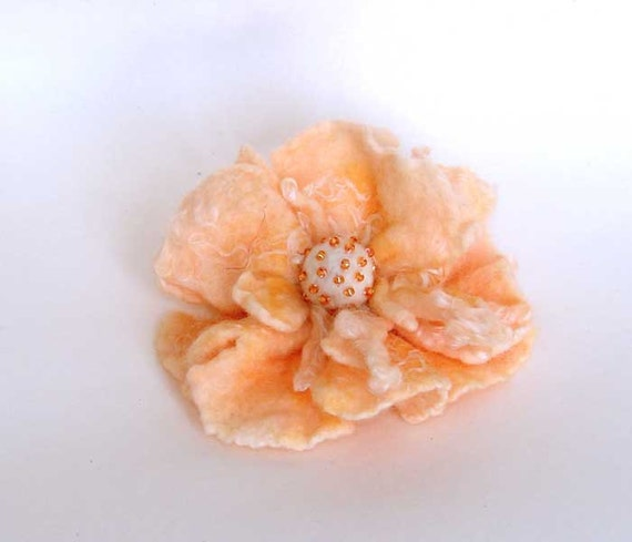 Sale. Felted pink salmon gold peony flower from Merino Wool, perfect gift,  for baby hat and children women spring accessories