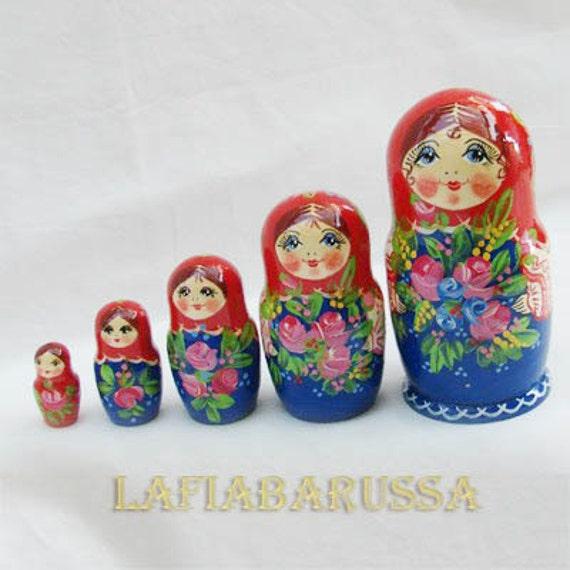Matreshka matryoshka babushka Russian Wooden ecofrendly Doll -  red/ blue 5 pcs 16 cm