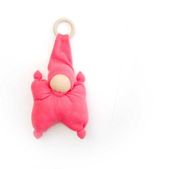 soft toys for baby- Teething waldorf doll for baby from cotton terry coral, wooden ring and bell - rusteam