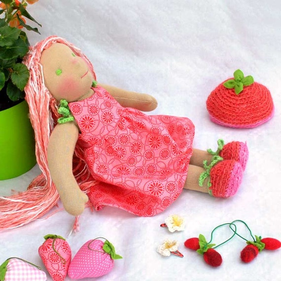fantasy Waldorf cloth doll Fragola strawberries pink red colours dress, felted strawberries elastic for hair ties and flower crochet pins