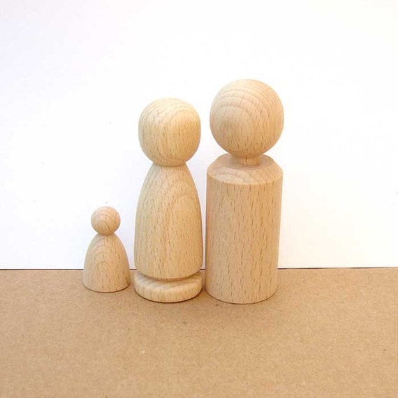 Wooden Doll Pair and baby or pet - man and woman - Peg Dolls - natural Wooden Toys - Waldorf Children toys,Wedding, party favors