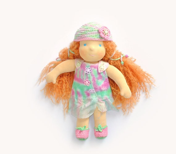 Waldorf doll Muza - felted dress pink and mint. eco friendly gifts for kids