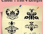 Rubber Stamp - Damask Pattern - Flora Ornaments (Mini Craft Stamp) - Pick 1 design. C1181