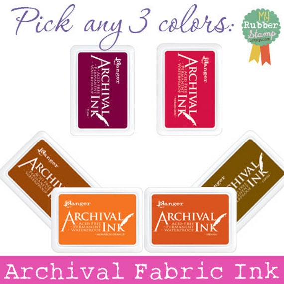Craft Supplies • Mix and Match for 3 Archival Fabric Ink Pads (Black, Coffee, Cobalt, Olive, Purple, Rose Madder, Blue Violet, Aquamarine)