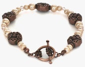 Peach Pearl Copper Bracelet, Wedding Jewerly, Gift for Women, Gifts Under 20, Last Minute, Gift Wrapped, Gifts for Mom, Mothers Day