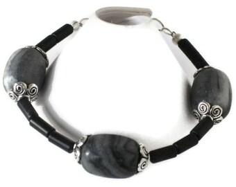 Blackstone Marble Bracelet, Black Jasper, Gifts for Women Mom Wife Sister Daughter Grandma Teacher Under 20, Stocking Stuffers