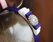 Boutique style Ribbon Lined Headband - Purple Diva