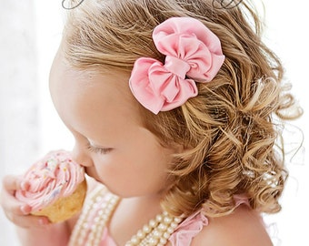 Boutique Style Baby Toddler Girls hair Bow - Satin and Organza Hair Bow - set of 4