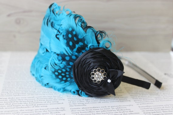 Boutique Style Couture Feather Headband Set - Turquoise and Black -Satin Rose and Bling