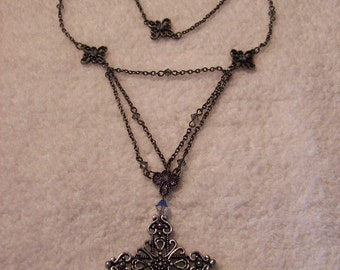 Necklace - Gunmetal and Cross