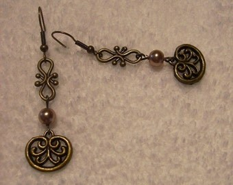Earrings - Brass and Pearls