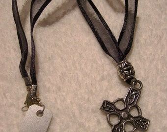 Necklace - Black Ribbon with Pewter Cross