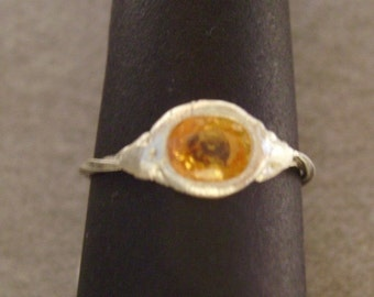Ring Sterling Silver Yellow Sapphire