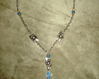 Silver Enameled Gothic Cross