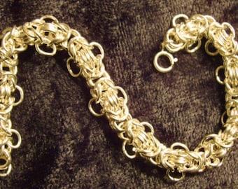 Solid Sterling Silver Fancy Byzantine Bracelet