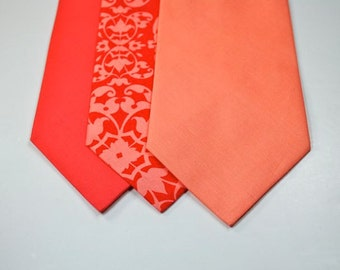 Peach Neckties Coral Neckties Mens Neckties